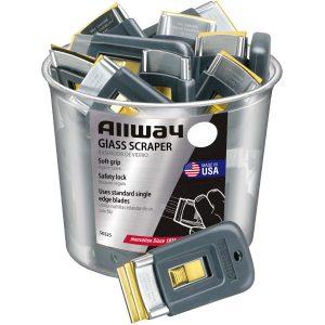 (SGS25) Soft Grip, Steel, Glass Scraper, 25/Bucket, Labelled