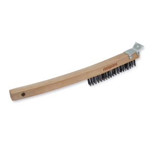 (WB319/SS) Long Wood Handle Wire Brush, Labelled