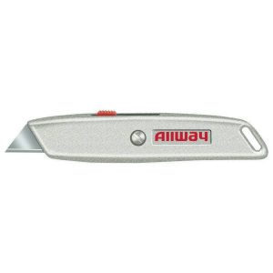 (RK4) Retractable Utility Knife w/3 Blades, Delrin Slider, Carded