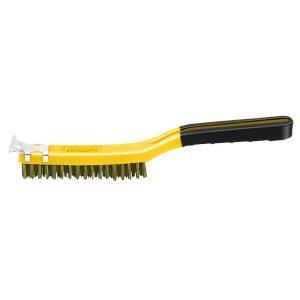 (SB319/BB) 3 x 19 Soft Grip Brass Wire Brush W/Scraper, Labelled