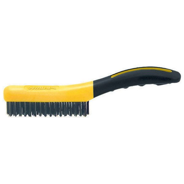 (SB416) 4 x 16 Soft Grip Carbon Steel Wire Brush- Shoe Handle, Labelled