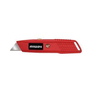 (SLK) Retractable Utility Knife w/3 Blades, Steel Slider, Carded